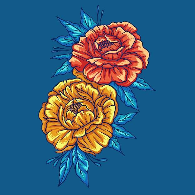 Autumn flower on blue Premium Vector