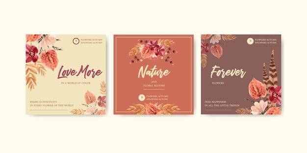 Осенний цветок концепция дизайна для рекламы и маркетинга Бесплатные векторы