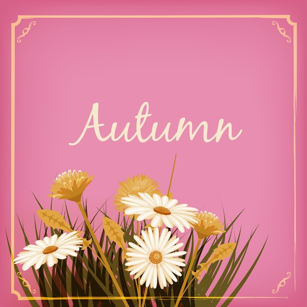 Autumn flowers, fall, leaves, greeting card autumn colors Premium Vector