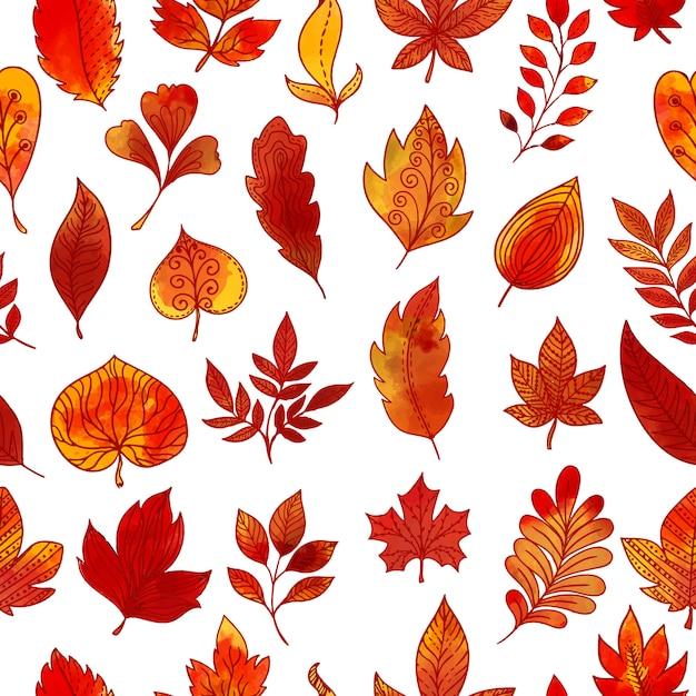 紅葉のシームレスパターン 無料ベクター