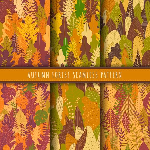Осенний лес и природа бесшовные коллекции. Premium векторы