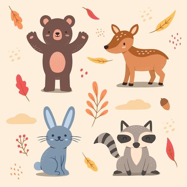 Autumn forest animal set Free Vector