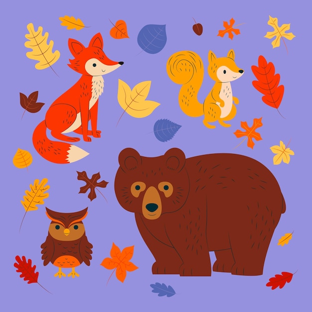 Autumn forest animals collection Free Vector