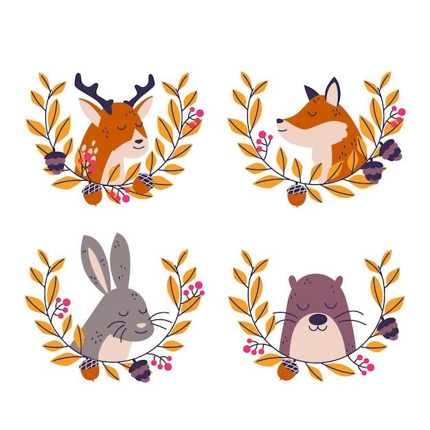 秋の森の動物コレクション 無料ベクター