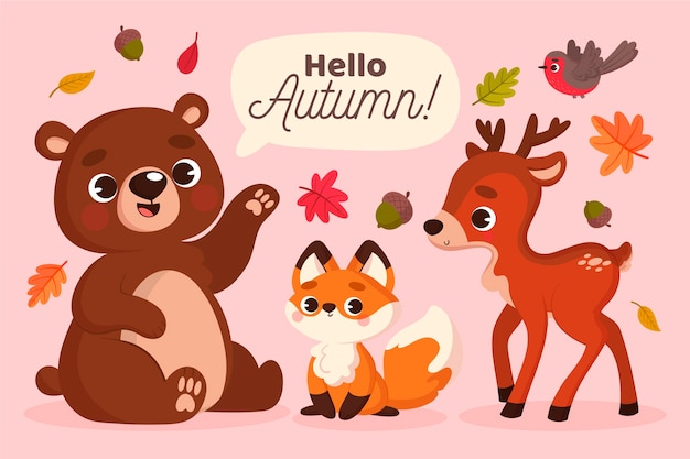 Осенние лесные животные в плоском дизайне Бесплатные векторы
