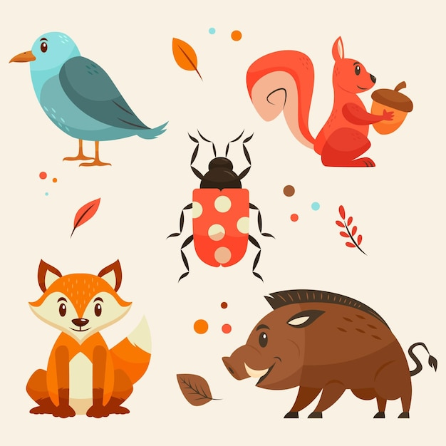 Autumn forest animals pack Free Vector