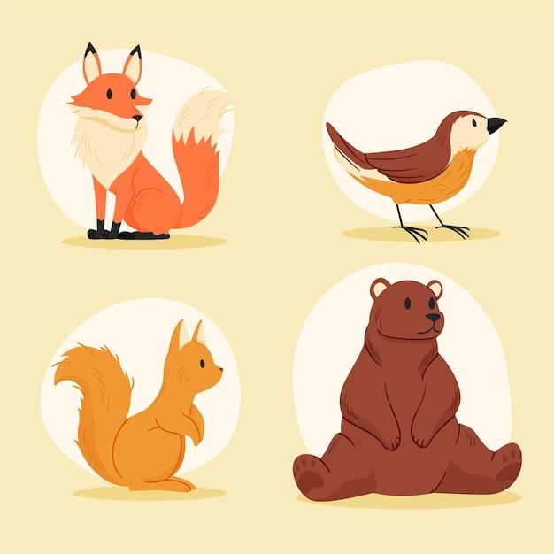 Набор осенних лесных животных Бесплатные векторы