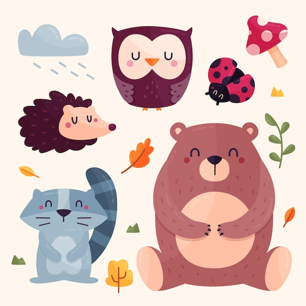 Autumn forest animals set Free Vector