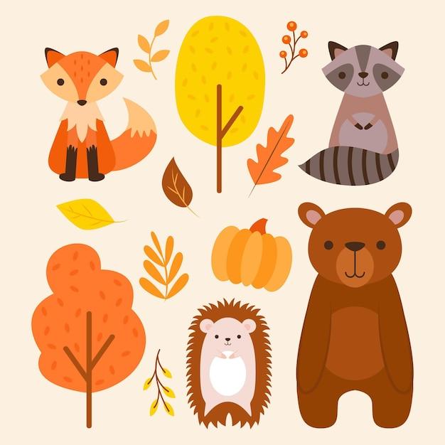Autumn forest animals Free Vector