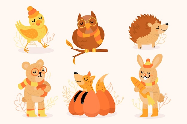 Autumn forest animals Free Vector