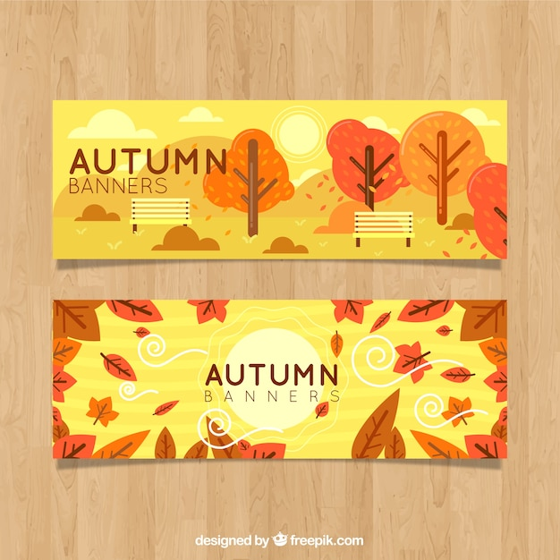Autumn forest banners