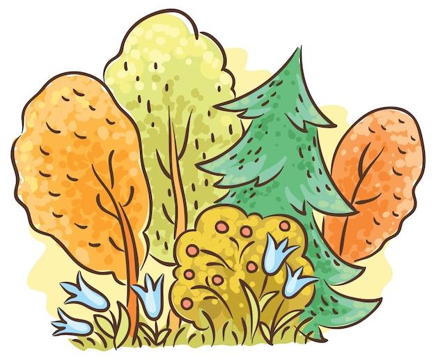 Autumn forest cartoon drawing Premium Vector