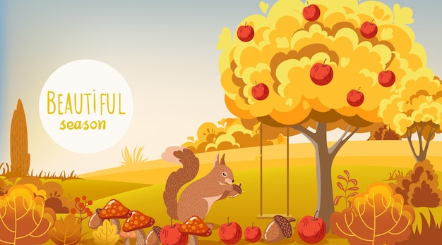 Autumn forest with squirrel eating an acorn Free Vector