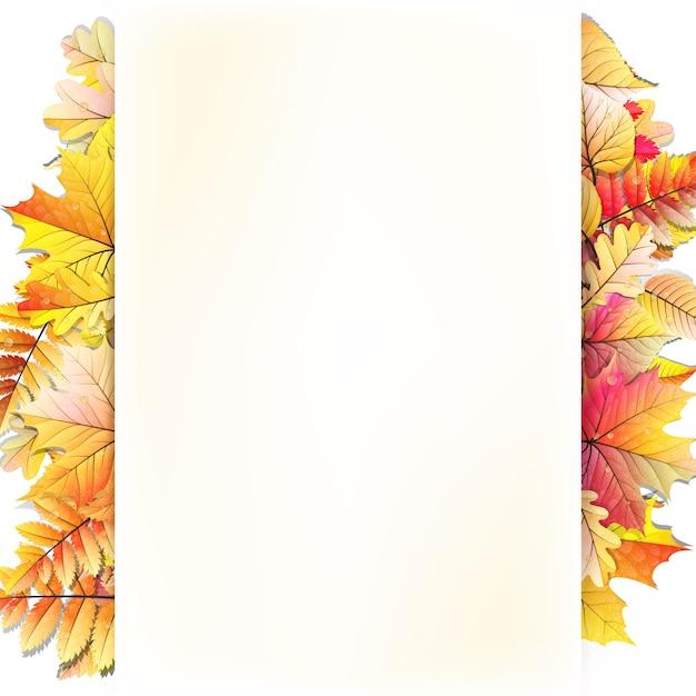 秋の葉と秋のフレーム。 Premiumベクター