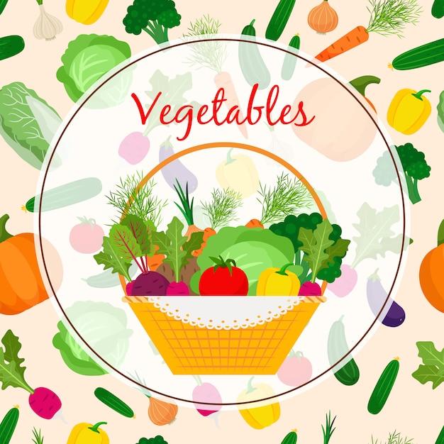 Autumn fresh vegetable in basket Premium Vector