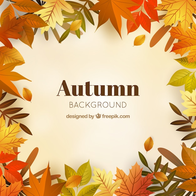 Autumn fund with realistic leaves