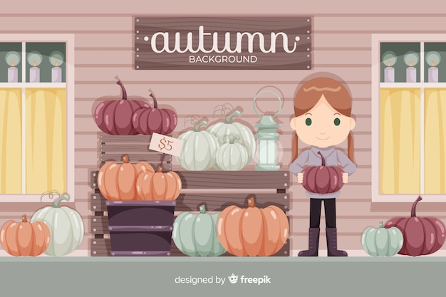 Autumn girl background flat style Free Vector
