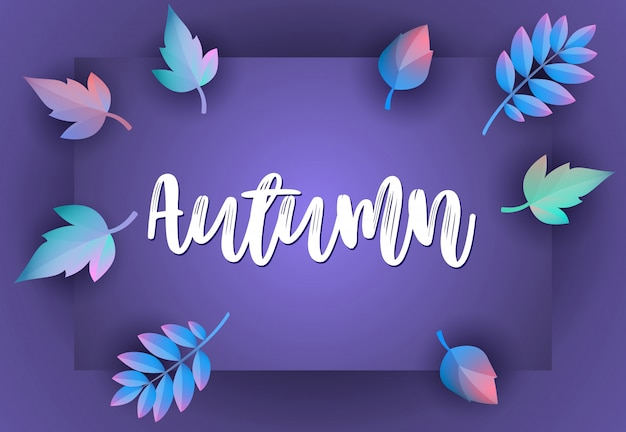 Autumn greeting card with violet Free Vector
