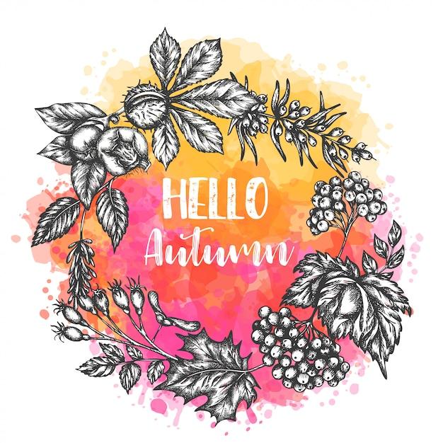 Autumn hand drawn illustration Premium Vector
