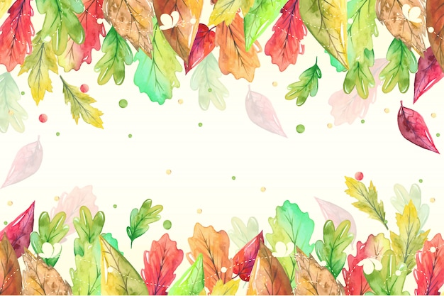 Autumn hand painted leaves in watercolor style Premium Vector