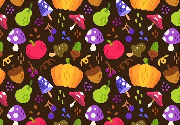 Autumn harvest background pattern Premium Vector
