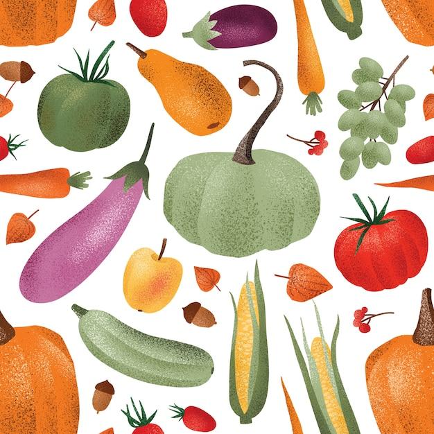 Осенний урожай бесшовные модели. спелые овощи, фрукты и ягоды Premium векторы