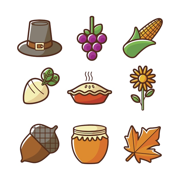Autumn icon collectio Free Vector