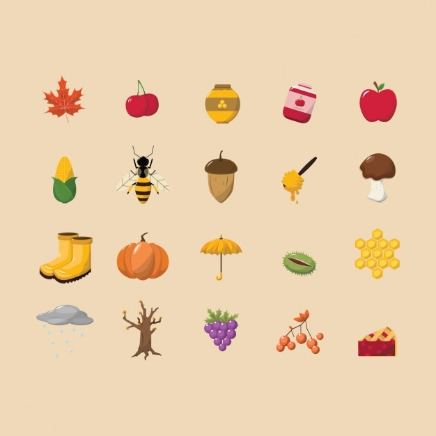 Autumn icons collection Free Vector