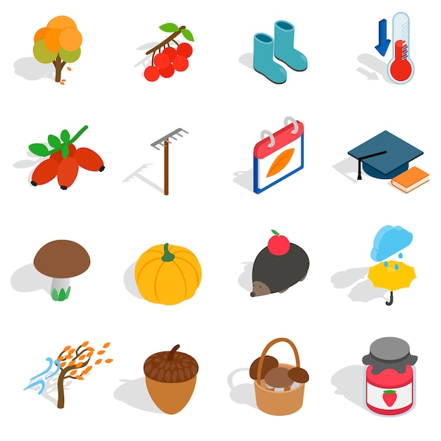 Autumn icons in isometric 3d style. october set collection vector illustration Premium Vector