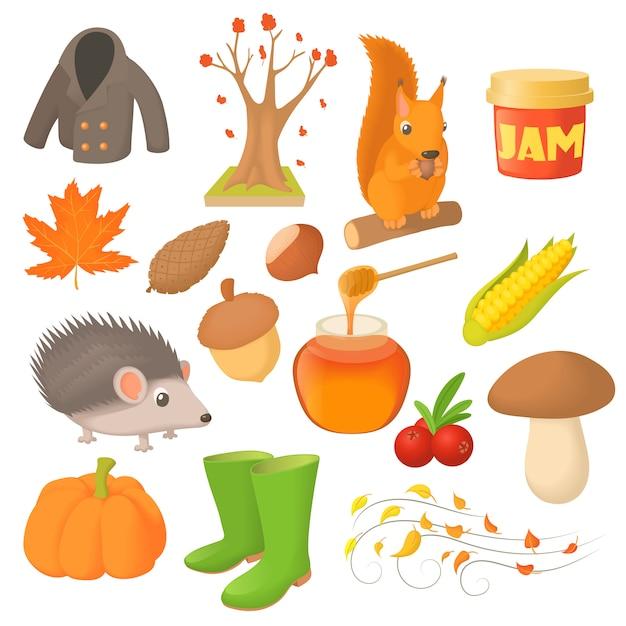 Autumn icons set in cartoon style Premium Vector