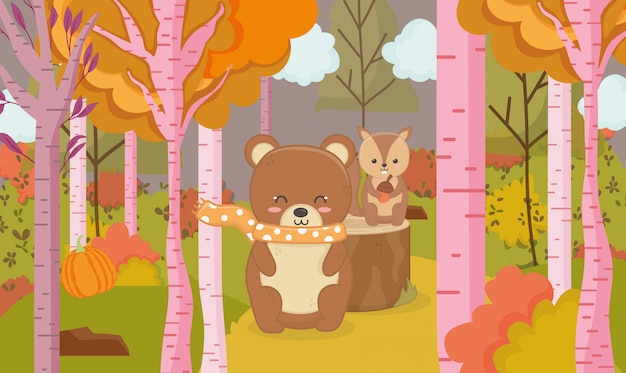 Autumn illustration of cute bear and squirrel animal forest Premium Vector