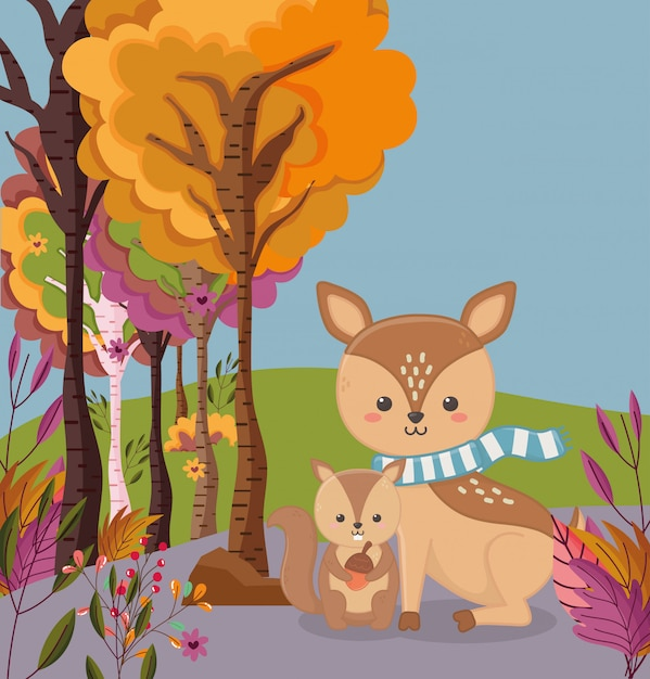 Autumn illustration of cute deer and squirrel with acorn Premium Vector