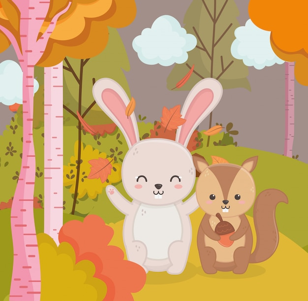 Autumn illustration of cute rabbit and squirrel with acorn forest Premium Vector