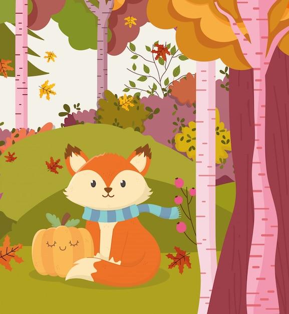 Осенняя иллюстрация милой лисы с тыквенным лесом Premium векторы