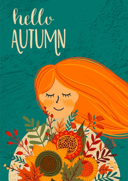 Autumn illustration with cute woman Premium Vector