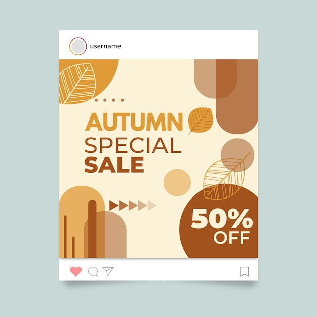 Autumn instagram post template Free Vector