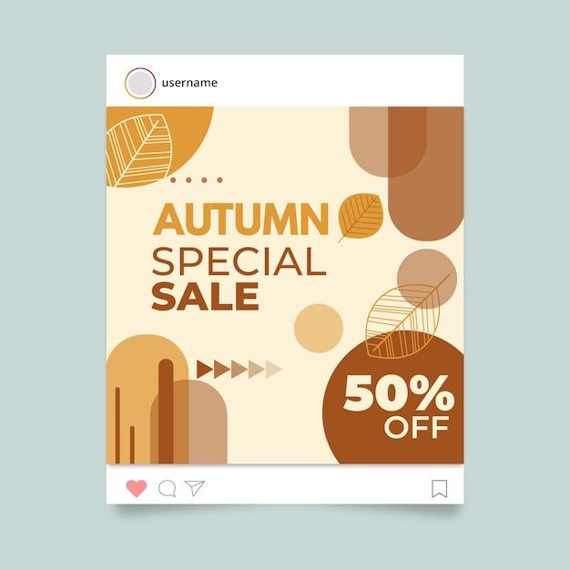 가을 instagram 게시물 템플릿 무료 벡터