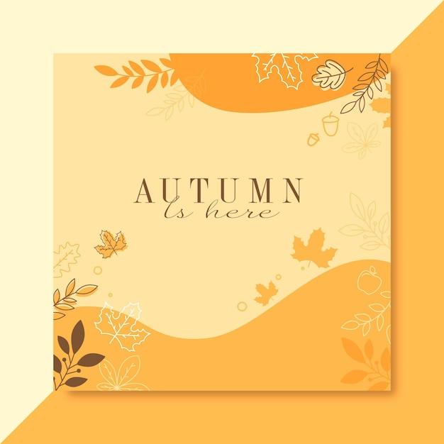 Autumn instagram post template Free Vector