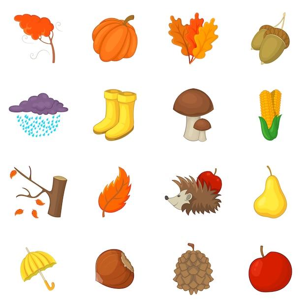 Autumn items icons set Premium Vector