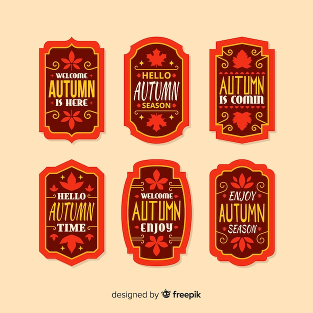 Autumn label collection flat style Free Vector