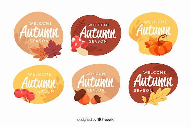 Autumn label collection in flat style Free Vector