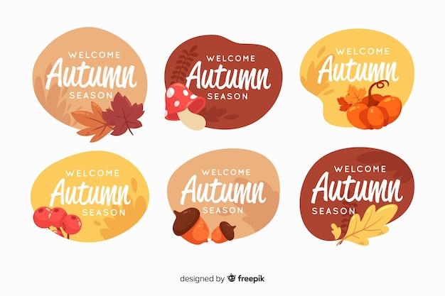 フラットスタイルの秋のラベルコレクション 無料ベクター