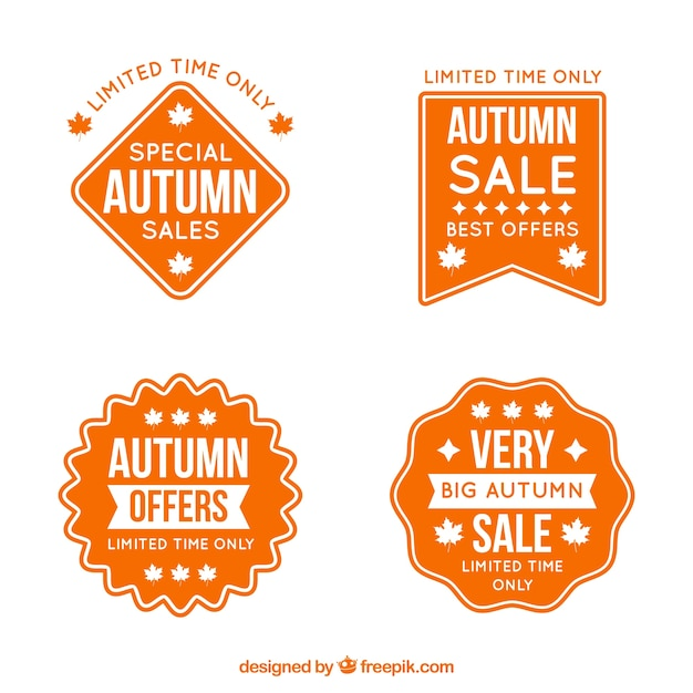 Autumn label collection Free Vector