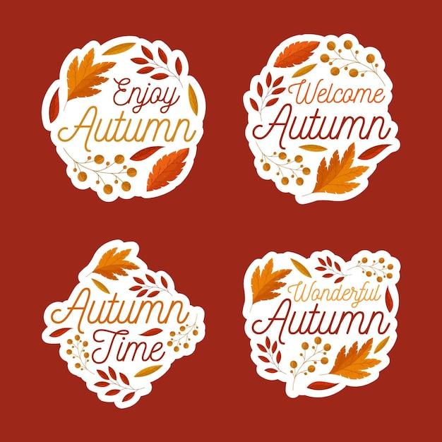 Autumn label pack design Free Vector