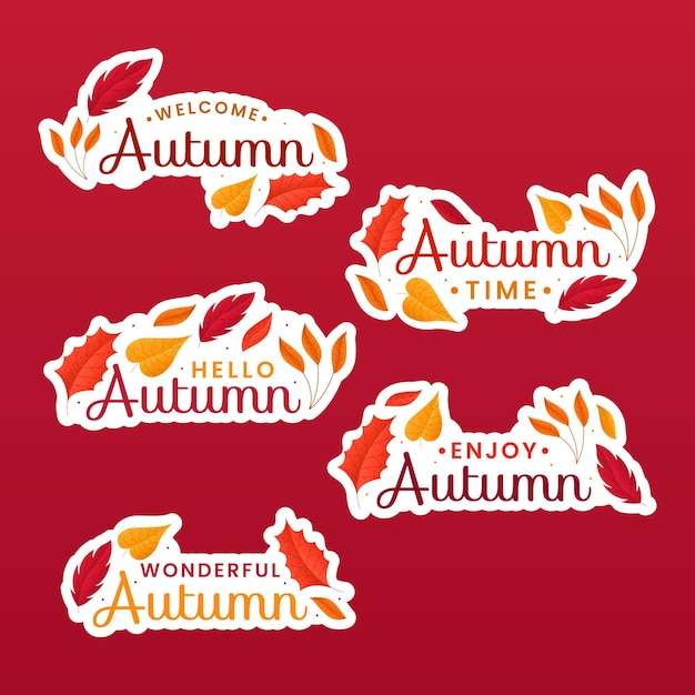 Autumn label pack Free Vector