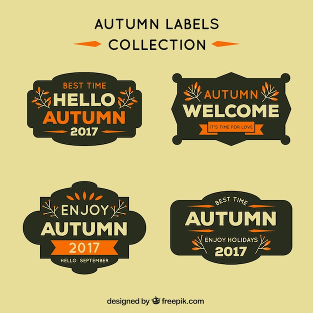 Autumn labels collection Free Vector