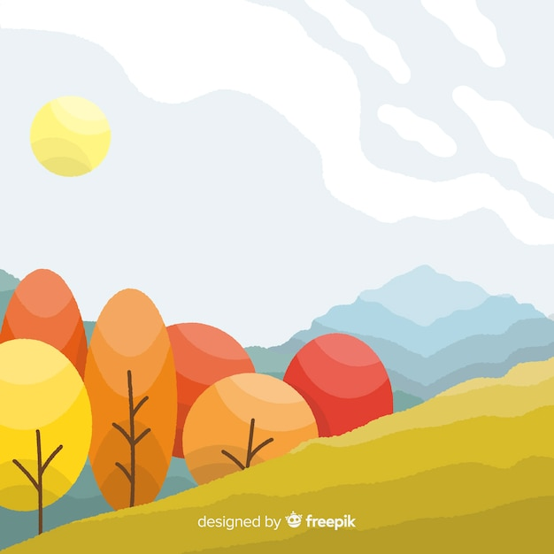 Autumn landscape background flat design Free Vector