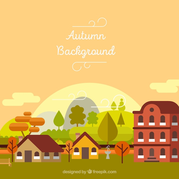 Autumn landscape background with houses and\ trees in flat design