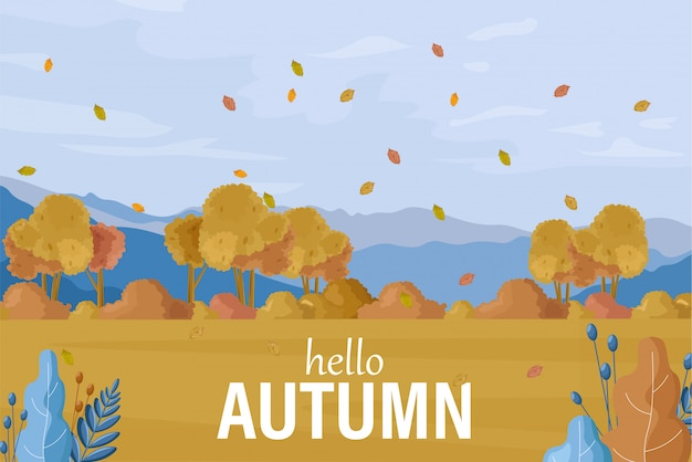 Autumn landscape background Premium Vector