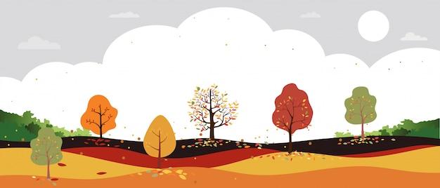 田舎の秋の風景の森の木、オレンジ色の葉で木から落ちてくる葉を持つ中秋のフィールドのベクトルの漫画。 Premiumベクター